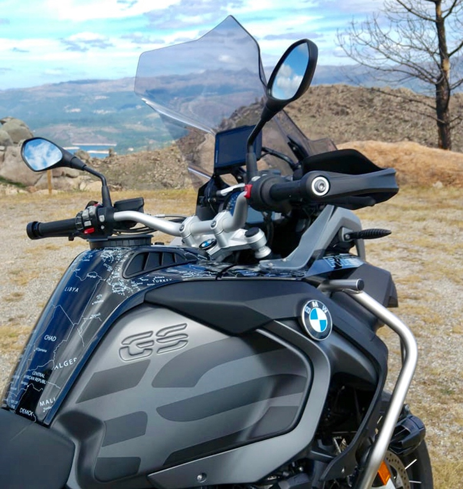 BMW R1200 1250 GS LC ADVENTURE 2014 Onwards BMW World Stickers Side Tank Look White Map Decals On Black Mountain View