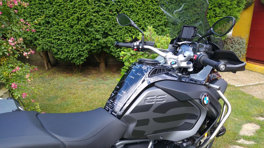 BMW R1200 1250 GS LC ADVENTURE 2014 Onwards BMW World Stickers White Map Decals On Triple Black At Distance