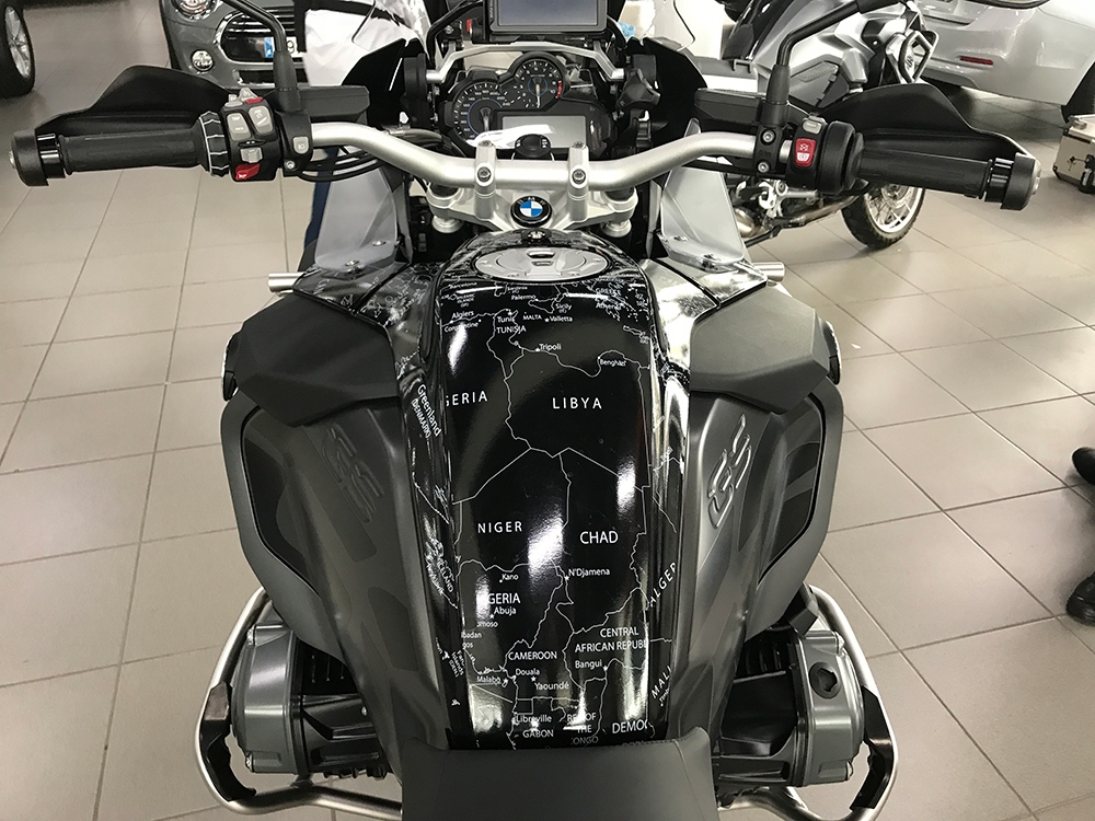 BMW R1200 1250 GS LC ADVENTURE 2014 Onwards BMW World Stickers Whole Tank Front Stunning Look White Map Transparent Decals On Triple Black