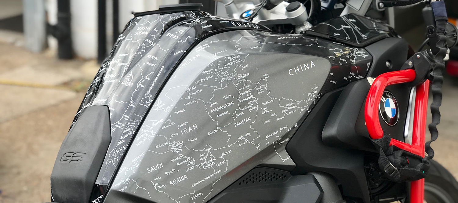 Copy of BMW R1200 1250 GS LC 2017 Onwards BMW World Stickers Full Right Angle View On Combination Black Grey