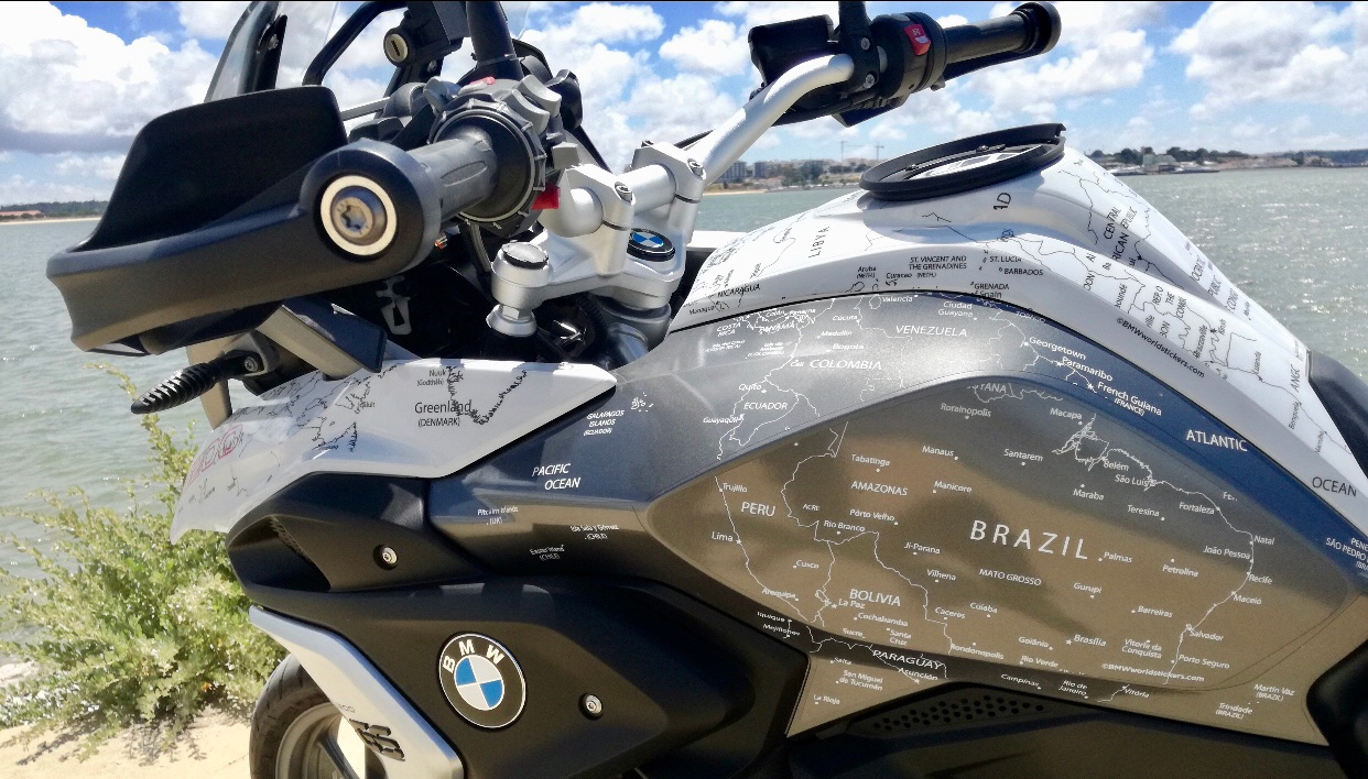 Copy of BMW R1200 1250 GS LC 2017 Onwards BMW World Stickers Landscape Full Side Left Black Map On White