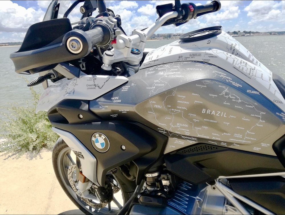 Copy of BMW R1200 1250 GS LC 2017 Onwards BMW World Stickers and Decals Landscape Full Side Left Black Map On White
