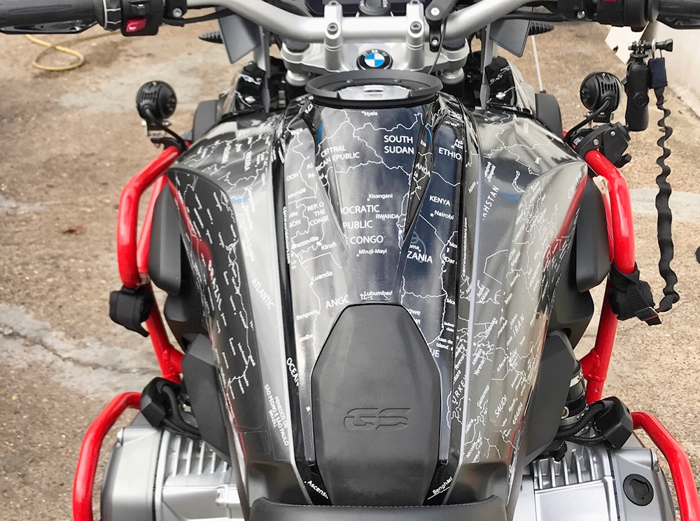 Copy of BMW R1200 1250 GS LC 2017 Onwards BMW World Stickers and Decals Stunning Tank Top Combination White Map On Black Grey