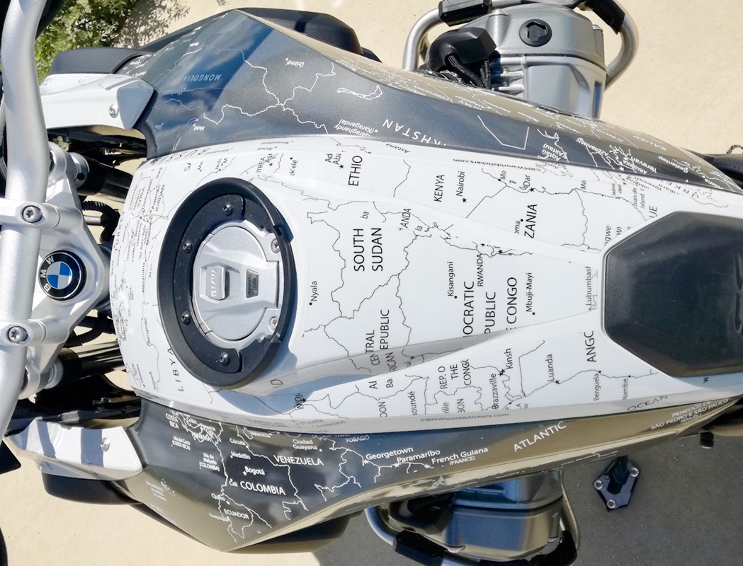 BMW R1200 1250 GS LC 2017 Onwards BMW World Stickers and Decals Tank Top Aerial View Black On Transparent Map Over White
