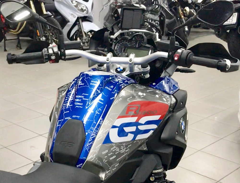Copy of BMW R1200 1250 GS LC RALLYE 2017 Onwards BMW World Stickers and Decals Full Tank In White Map