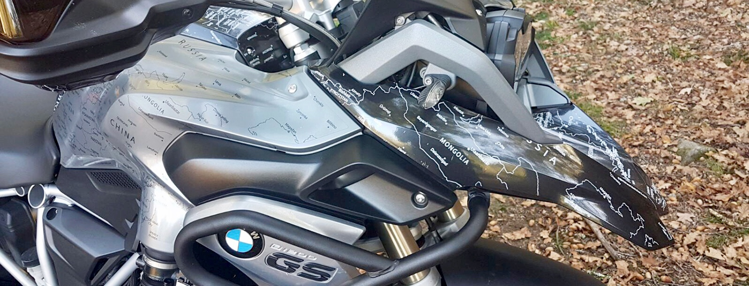 BMW R1200GS LC 2013 to 2016 BMW World Stickers And Decals Landscape Picture Forest Full Right View White Map Transparent on Black Grey Motorcycle