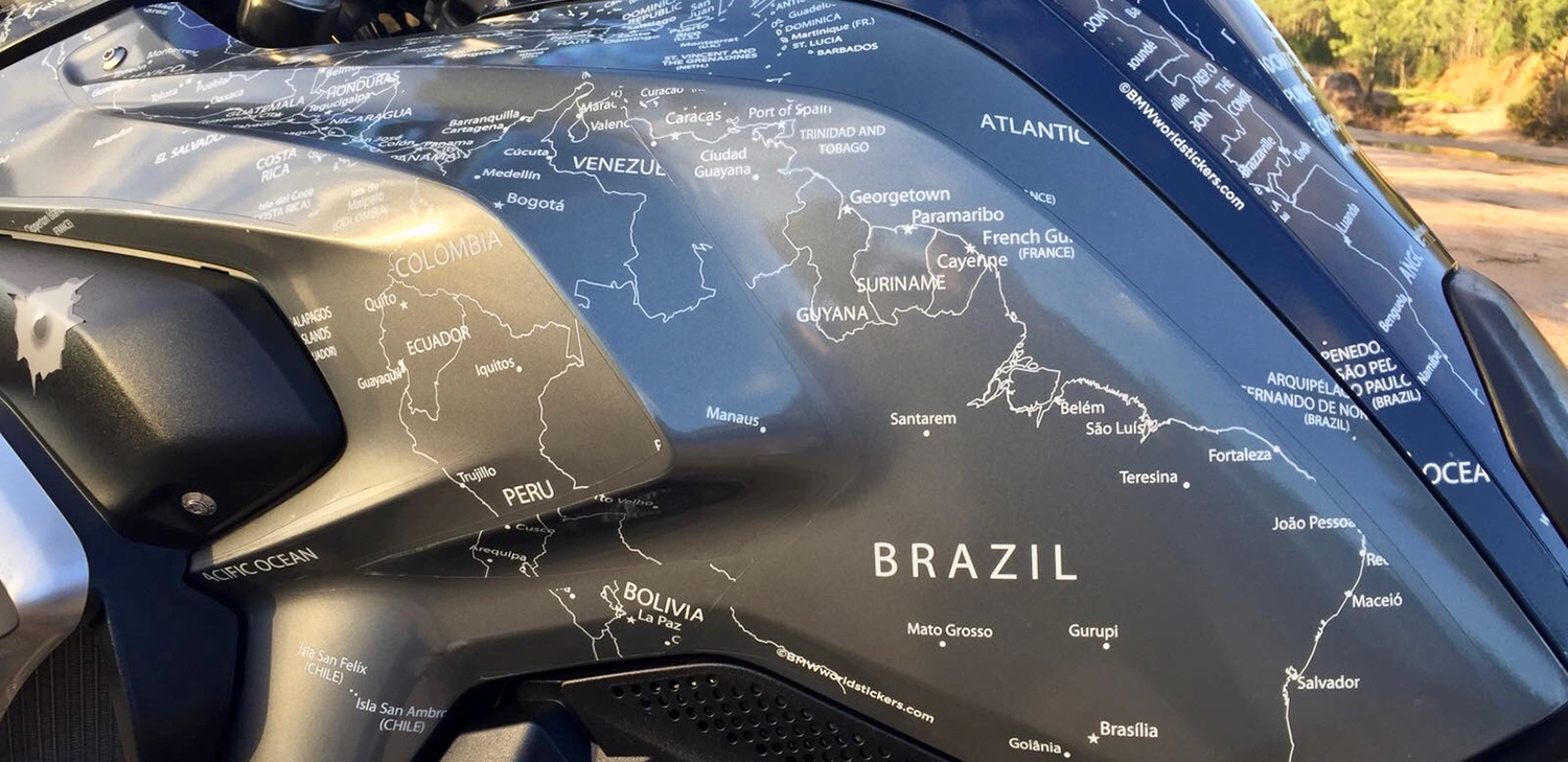 BMW R1200GS LC 2013 to 2016 BMW World Stickers And Decals Side Left Close Up View White Map Transparent on Blue Navy Grey Motorcycle
