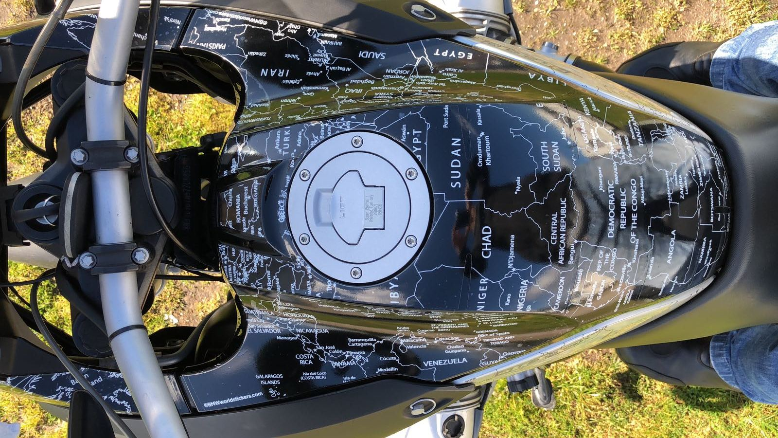 BMW R1200GS 2004 to 2007 Bmw World Stickers Stunning Picture Position Tank Top Aerial View White Map Transparent Decals On Black Bike