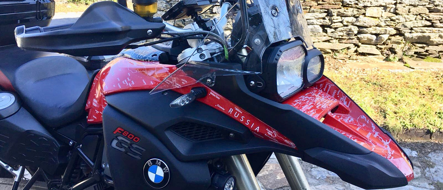 BMW F800 GS ADVENTURE 2013 to 2017 BMW World Stickers and Decals Front Right Beak Angle View White Map On Red Black