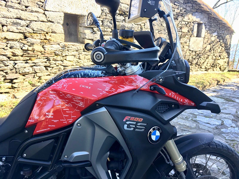 BMW F800 GS ADVENTURE 2013 to 2017 BMW World Stickers and Decals Rural Picture Close Up Right Side View White Map Transparent Decals On Red Black