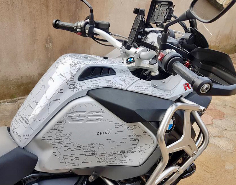 PPF Black Map on BMW R1200 1250 GS LC ADVENTURE 2014 Onwards BMW World Stickers/Decals Right View Top Look Black Map Transparent Decals On White