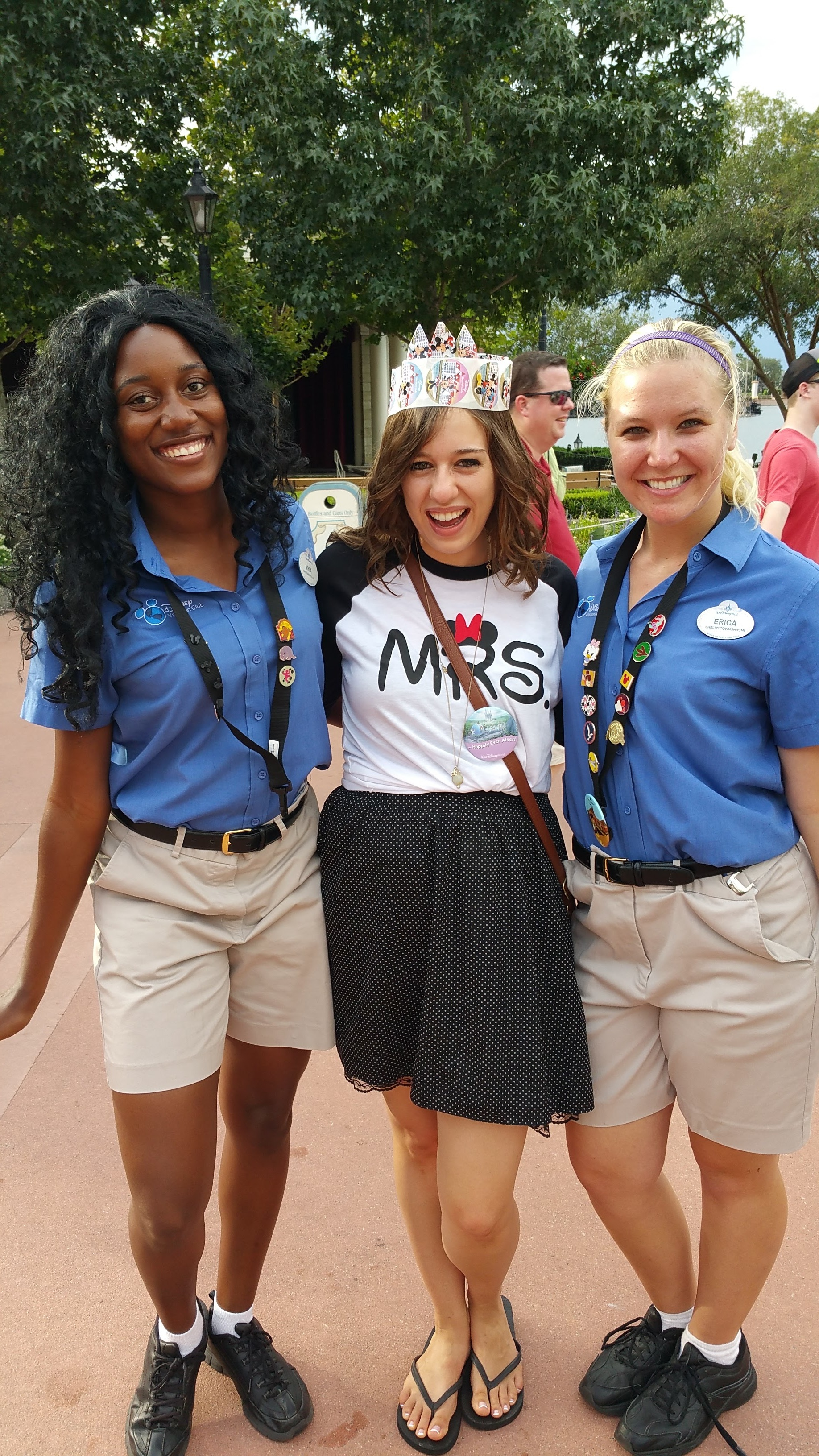 We weren't lying about the crown! This is Myia and Erica! We met them in Epcot and when they learned it was our honeymoon they made this crown for Jenna! We also became best friends with them throughout our stay and keep in touch with them when we're in Florida!