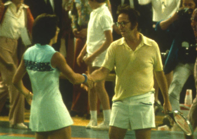 BATTLE OF THE SEXES - A courageous advocate for gender equality for women from a young age, Billie Jean King accepted a challenge to play a match against former number 1-ranked tennis player Bobby Riggs. In doing so, she launched her fight for parity into the worldwide limelight.