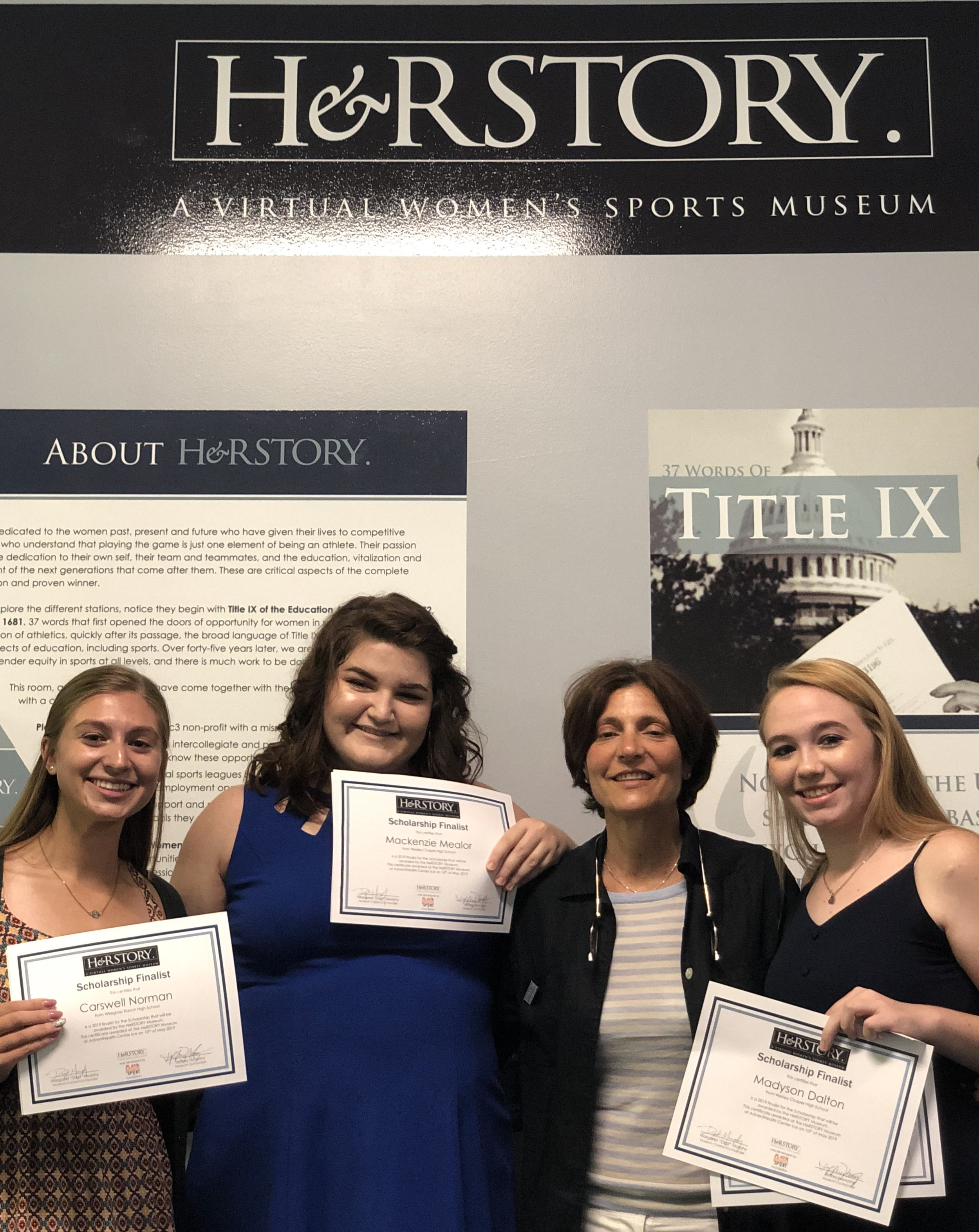 Three of our finalists meet Digit Murphy - Three of the 2019 Scholarship Finalists at the Meet and Greet Event on May 10, 2019 from left to right: Carswell Norman - Wiregrass Ranch HS (Lacrosse), Mackenzie Mealor - Wesley Chapel HS (Softball), Digit Murphy - HeRSTORY Founder, Madyson Dalton - Wesley Chapel HS (Cheerleading/Soccer).