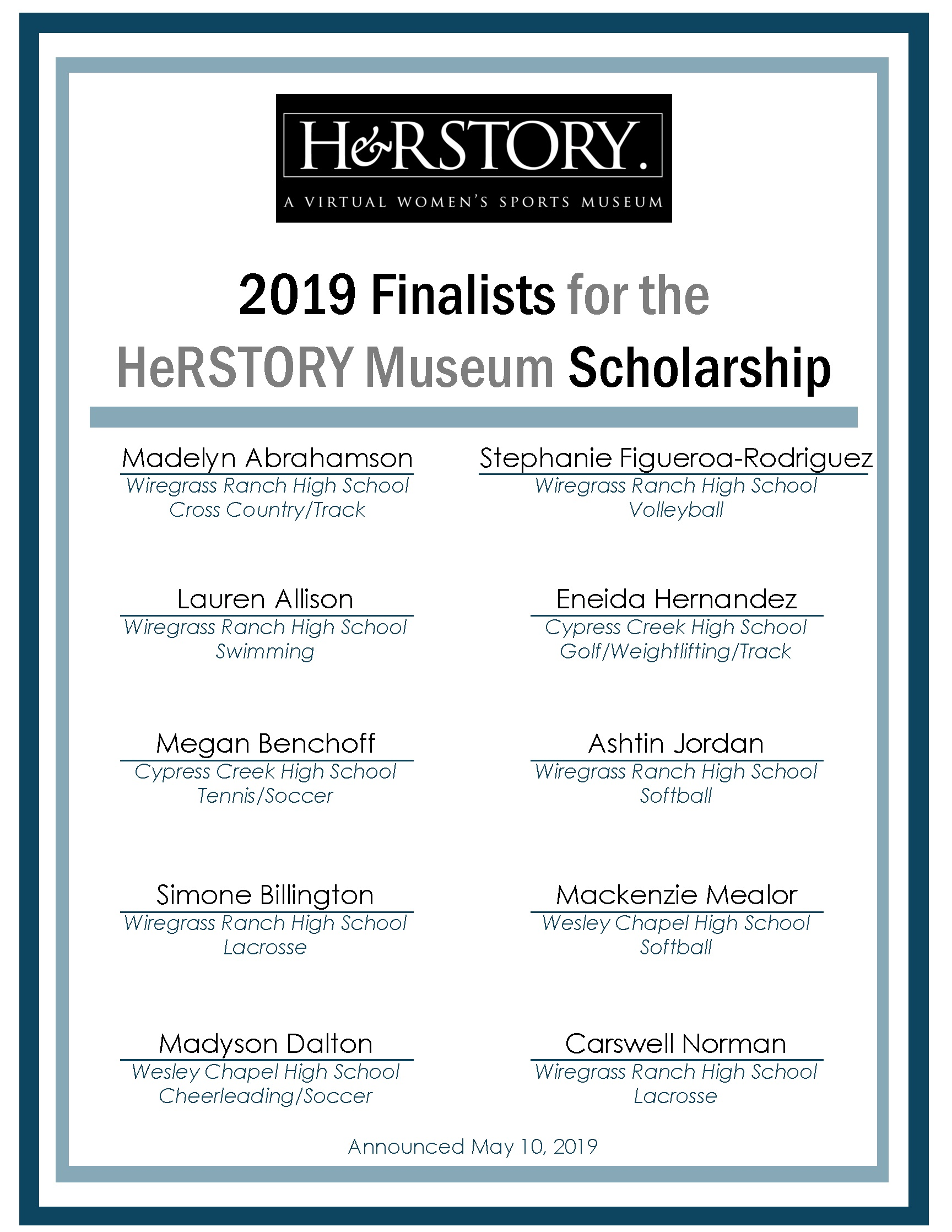 Finalists for the 2019 Scholarship, announced on May 10, 2019