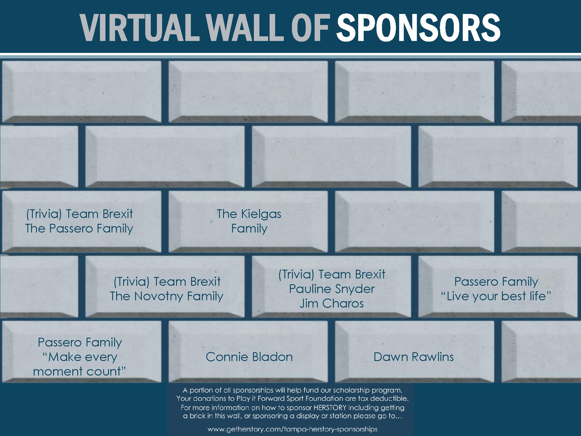 The names of incredible people who have supported the HERSTORY museum are memorialized with the above virtual bricks!