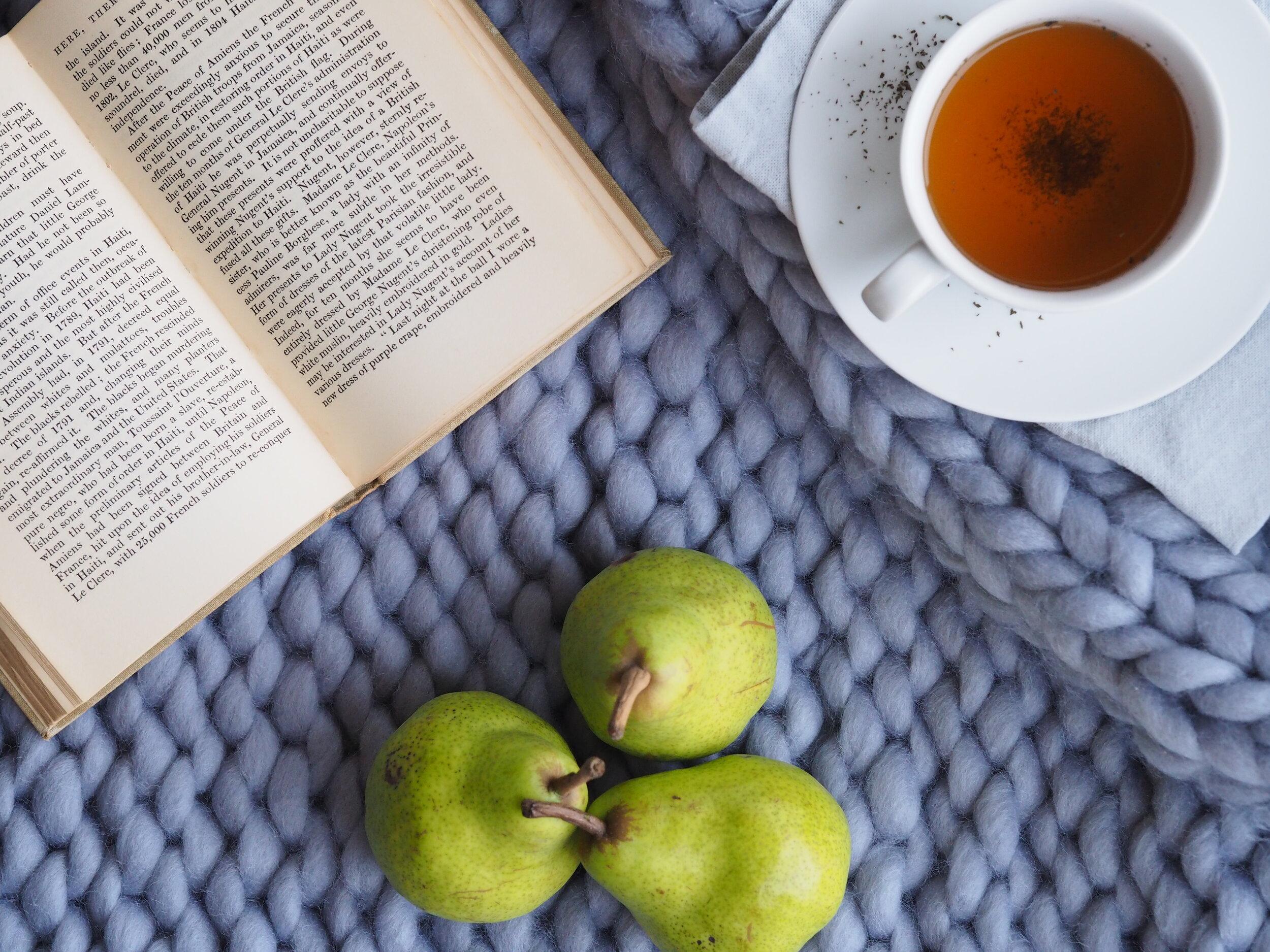 Book, blanket, hot tea & pears