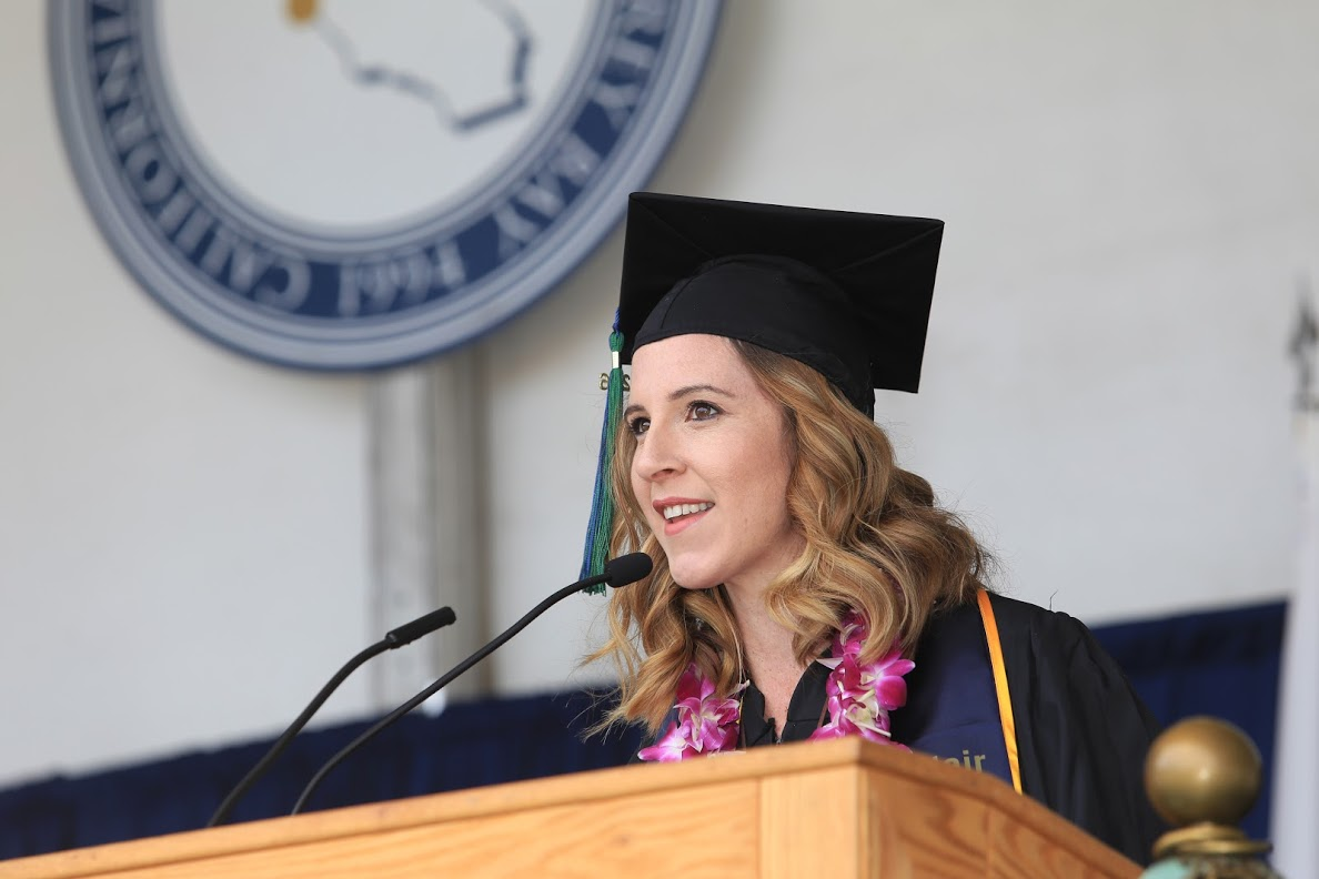 Elizabeth delivering her commencement address at Cal State Monterey Bay in 2016. She since graduated with her M.A. in American Studies from Kennesaw State University in 2018 after embarking on this journey.
