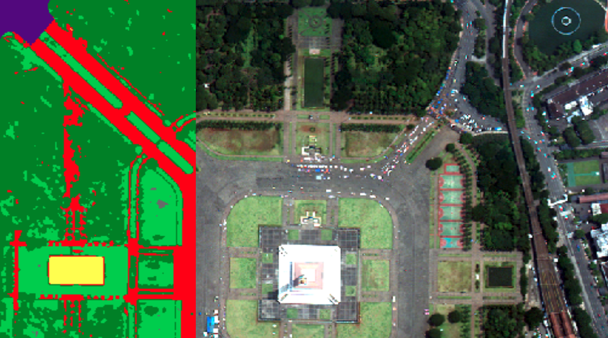 Example of blue space delineation capability for a water body in an Indonesian city. The water is highlighted in yellow.