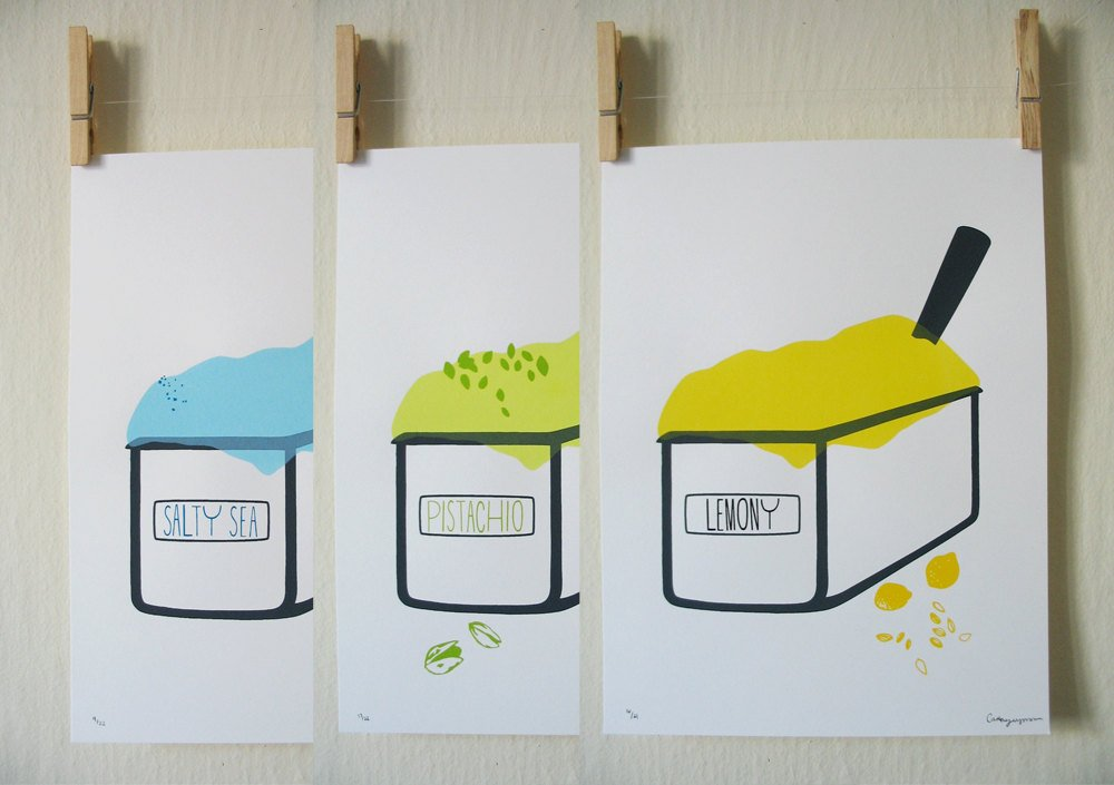"3 Prints -  9"" X 12"" - Standard Frame Size   80 LB Cover - Hand Screen Printed    $20.00"