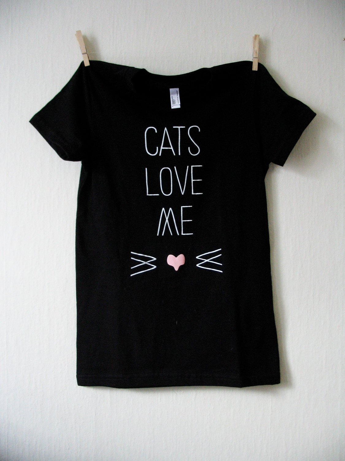 CATS LOVE ME - (BACK of Shirt: Contains a small 'Wider Awake' Logo )  $18.00