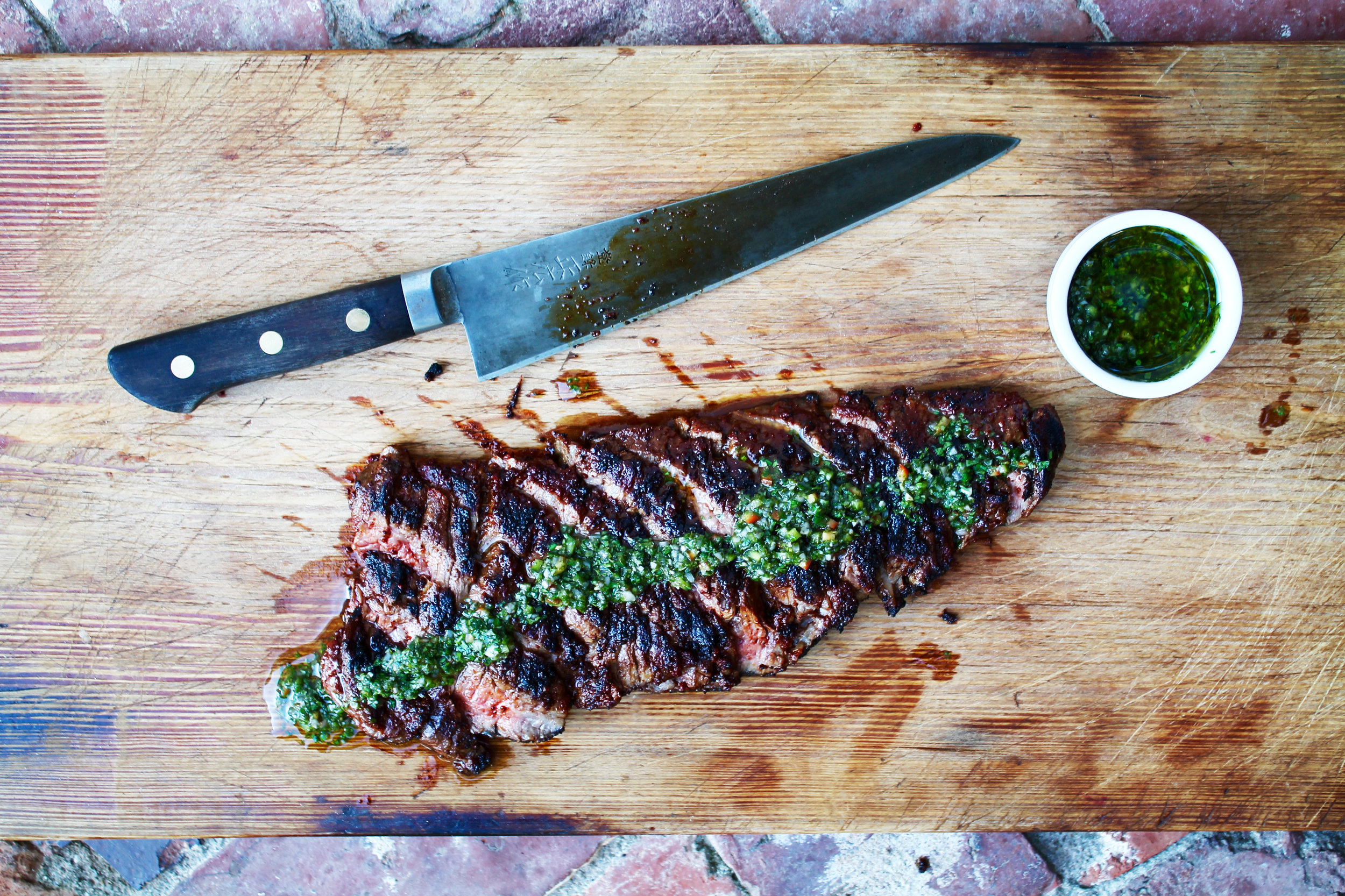 GRILLED SKIRT STEAK WITH HERBED CHIMICHURI -