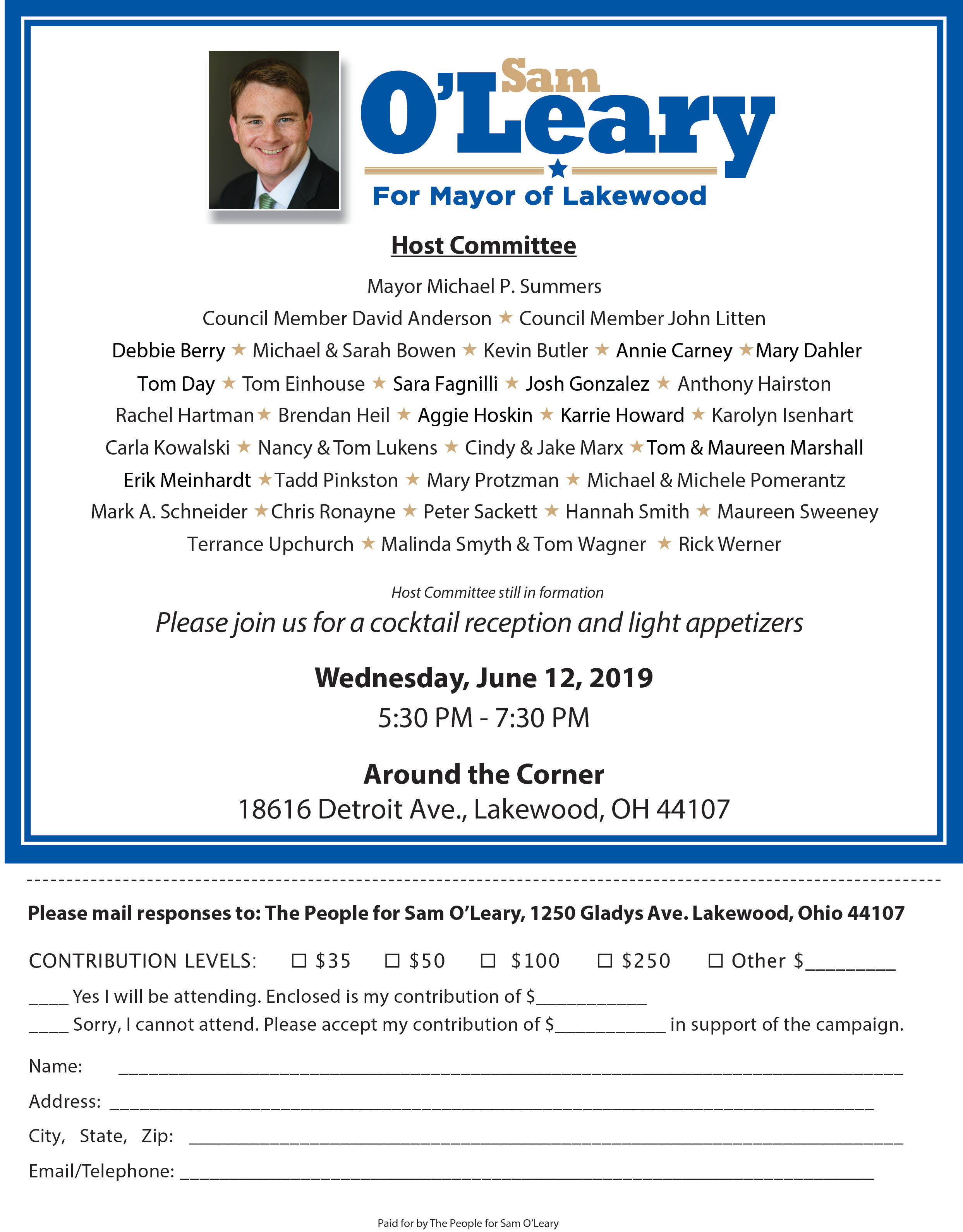 o'leary for lakewood fundraiser
