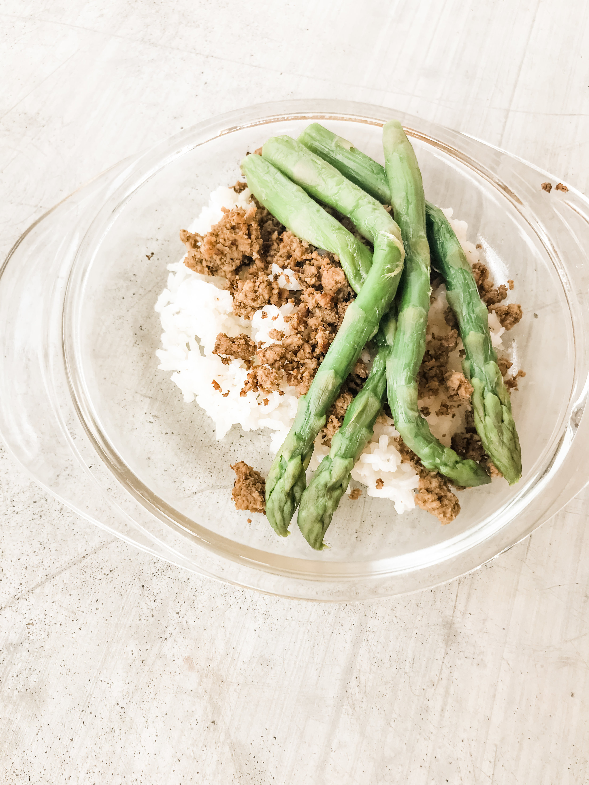 Lemon Pepper Ground Beef with White Rice and Asparagus (frozen)