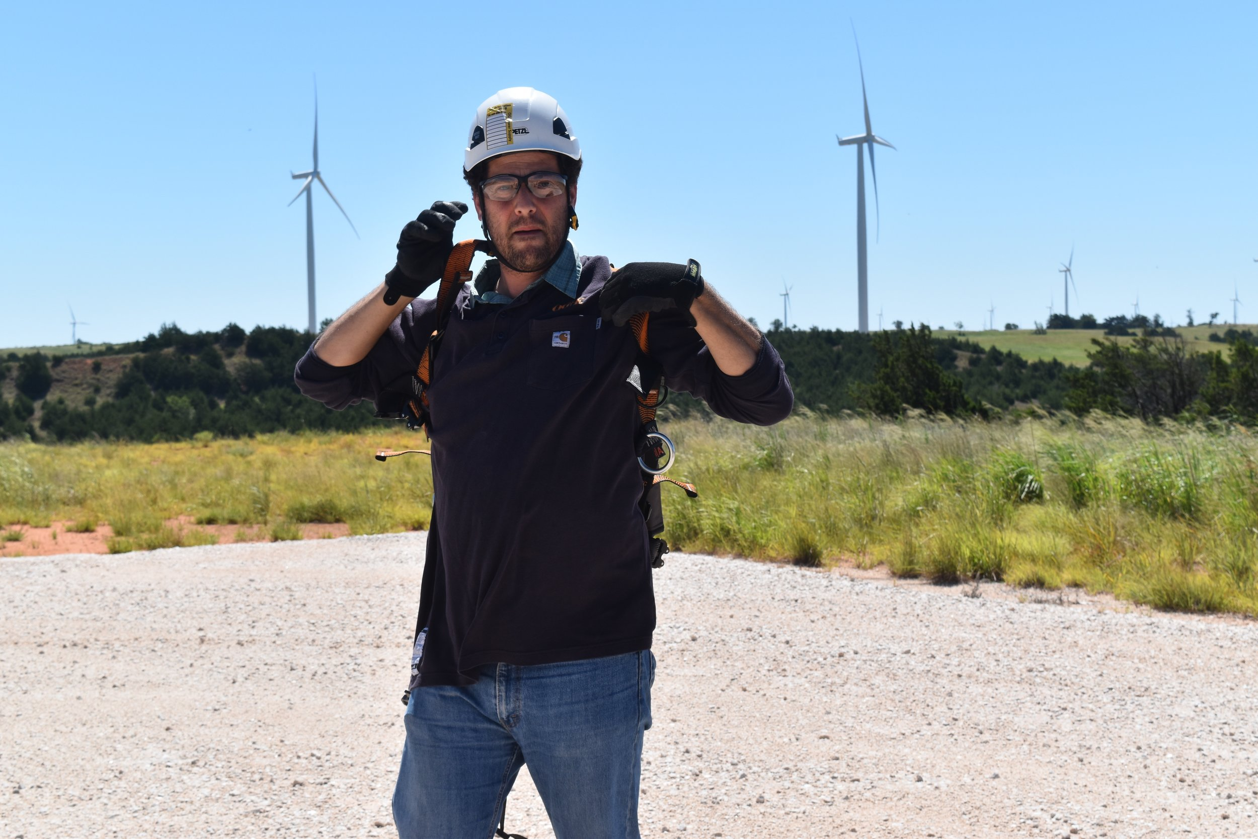 About to ascend a wind turbine in Oklahoma.  Read a Medium post on this misadventure .