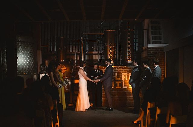 Congrats to Nikki and Ian! #distillery #ceremony #nhwedding