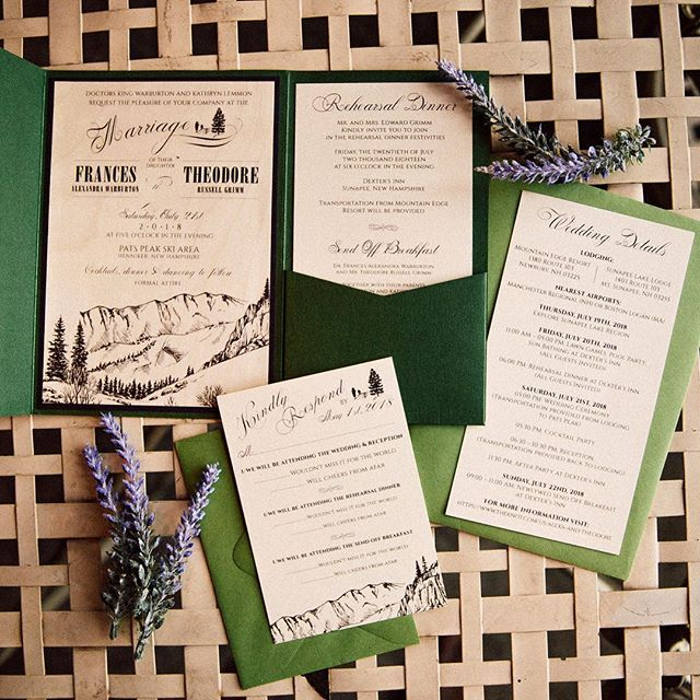 "Perfect invites for a #NH mountain ""outdoorsy"" themed wedding 👌🏼 @aea1023 @patspeakweddings"
