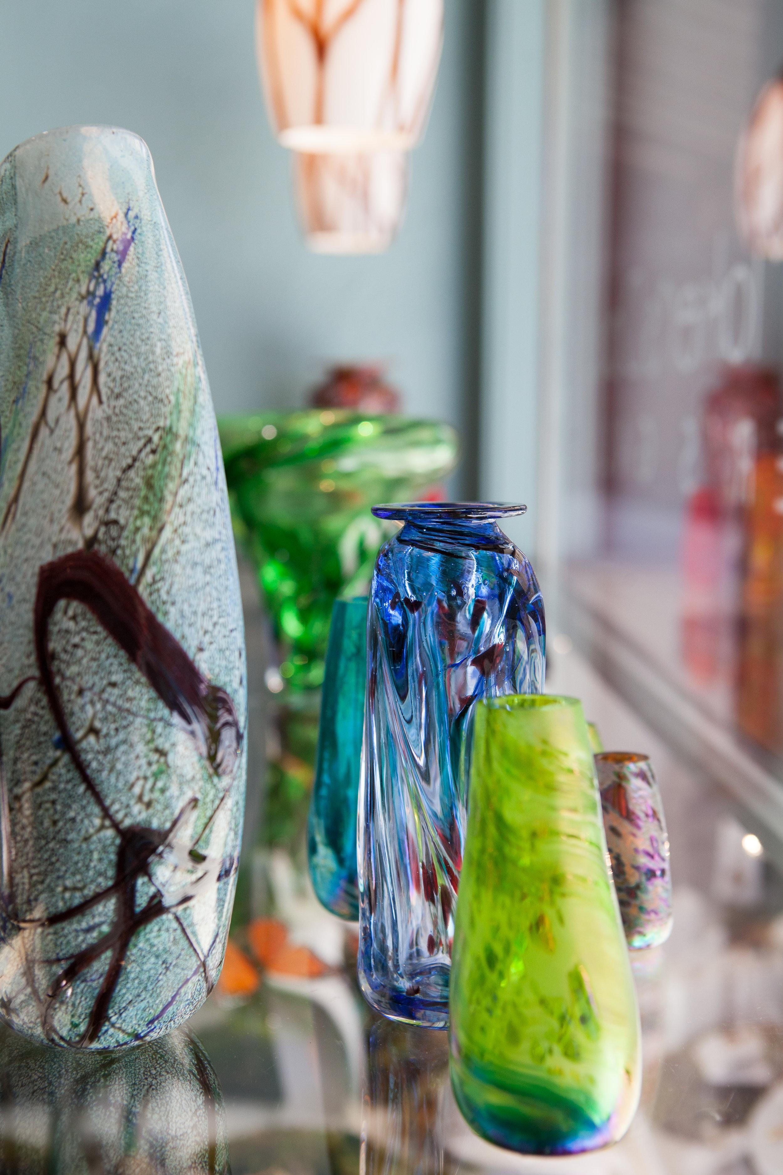 Liquid light glass - Santa Fe, NM - Hand-blown Wabi Sabi glass vases from a contemporary glass studio offering world class glass art.