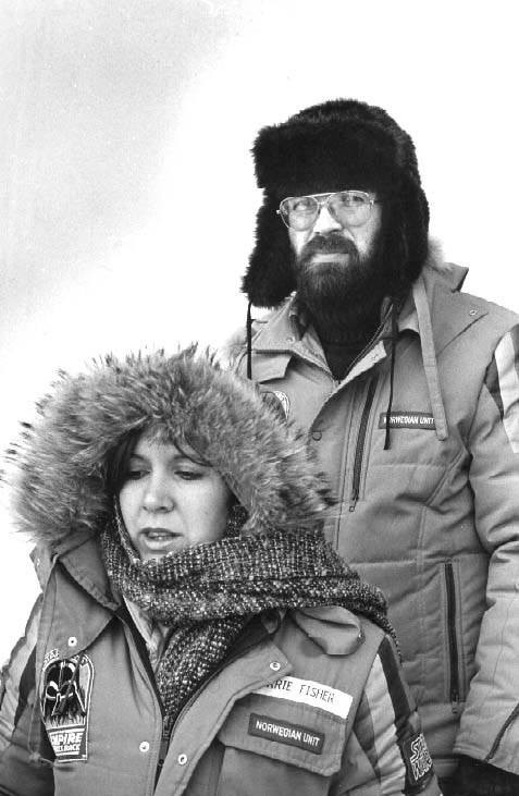 Carrie Fisher and Bjørn T. Jacobsen at Finse during the shooting The Empire Strikes Back in 1979. Photo: Privat