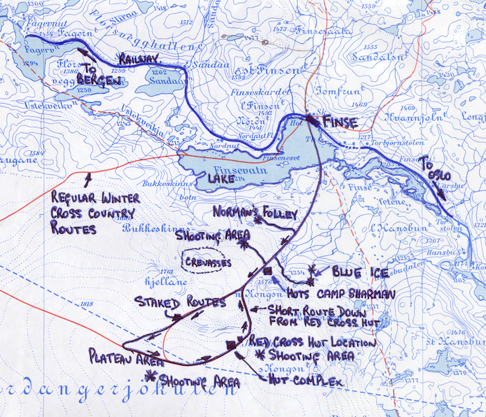 Original production map showing the main shooting locations.