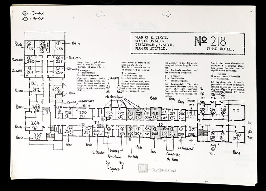 "Map of the hotel rooms from the ""Location Reconnaissance"" from 8th - 10th August 1978"