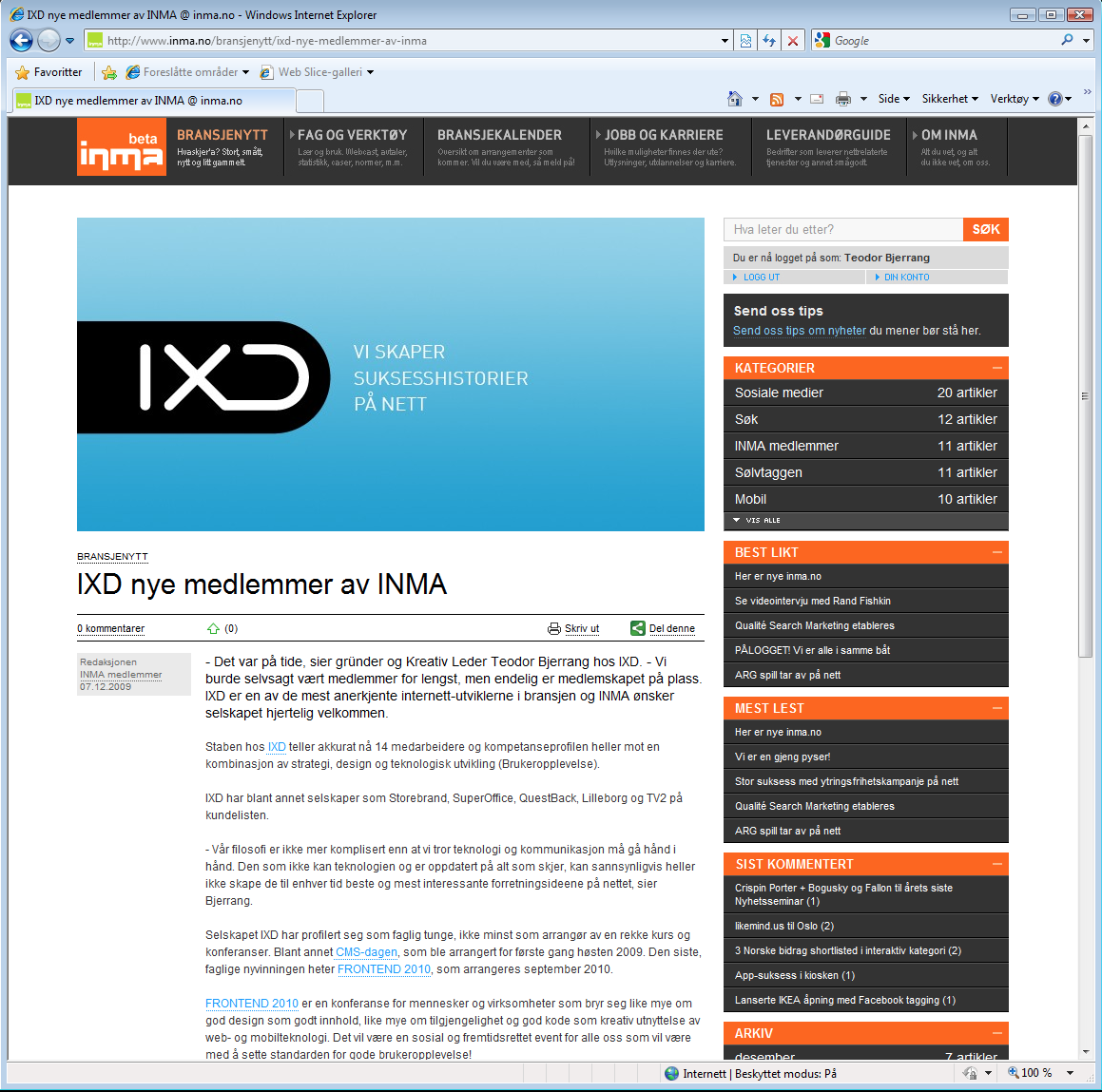 IXD joined INMA december 2009