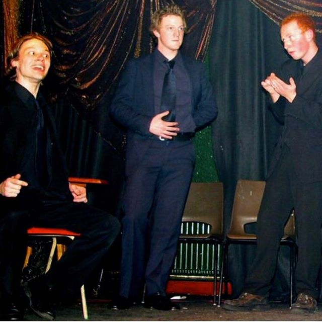 This might be the first photo of Jim, Shane and Demo on stage together... certainly the earliest we've found anyway. Taken at a H-BAM show in Mother Redcaps 16 or 17 years ago?! We have no idea what this sketch was. Best guess it was some weird piss take of the Crucible about Jehovahs Witnesses... or maybe those were two different sketches? It was a very long time ago.