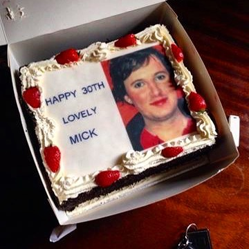 Happy Birthday @mickcullinan - the prettiest member of Dead Cat Bounce. This cake is from a few years back. The photo on the cake was taken on the set of the Rugby video, when the makeup lady got very excited by Mick's delicate features and got a bit overzealous with the blusher and lipstick. #hottwinks #dreamhunks #prettyboys