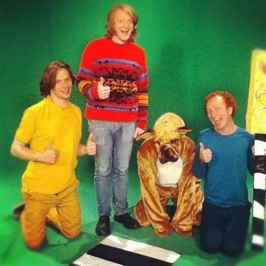 Seven years ago today we made a video for Good Touch Bad Touch with Republic of Telly, which RTÉ decided was best not to air. We never saw the end result, so this photo is really all we have to show for it... The wardrobe person told us that @shanedcb's jumper was an old Gay Byrne Toy Show one though.  #sitonmewhilewewatchfilms