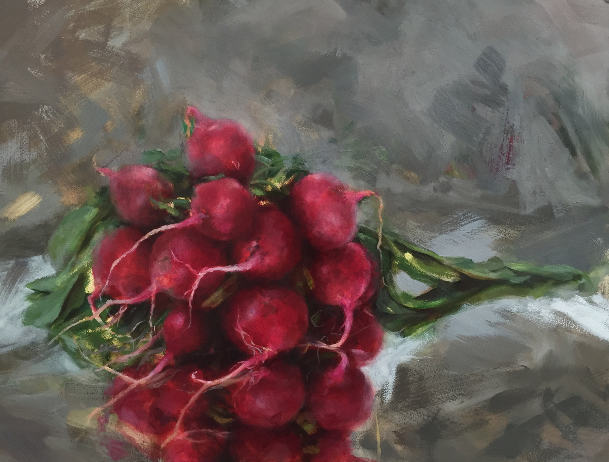 """THE RADISHES IV  oil on panel 12"""" x 16"""" 2016"""