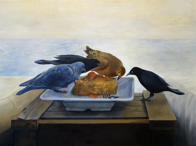 """BIRDS OF BARCELONA  oil on canvas 18"""" x 24"""" 2015"""