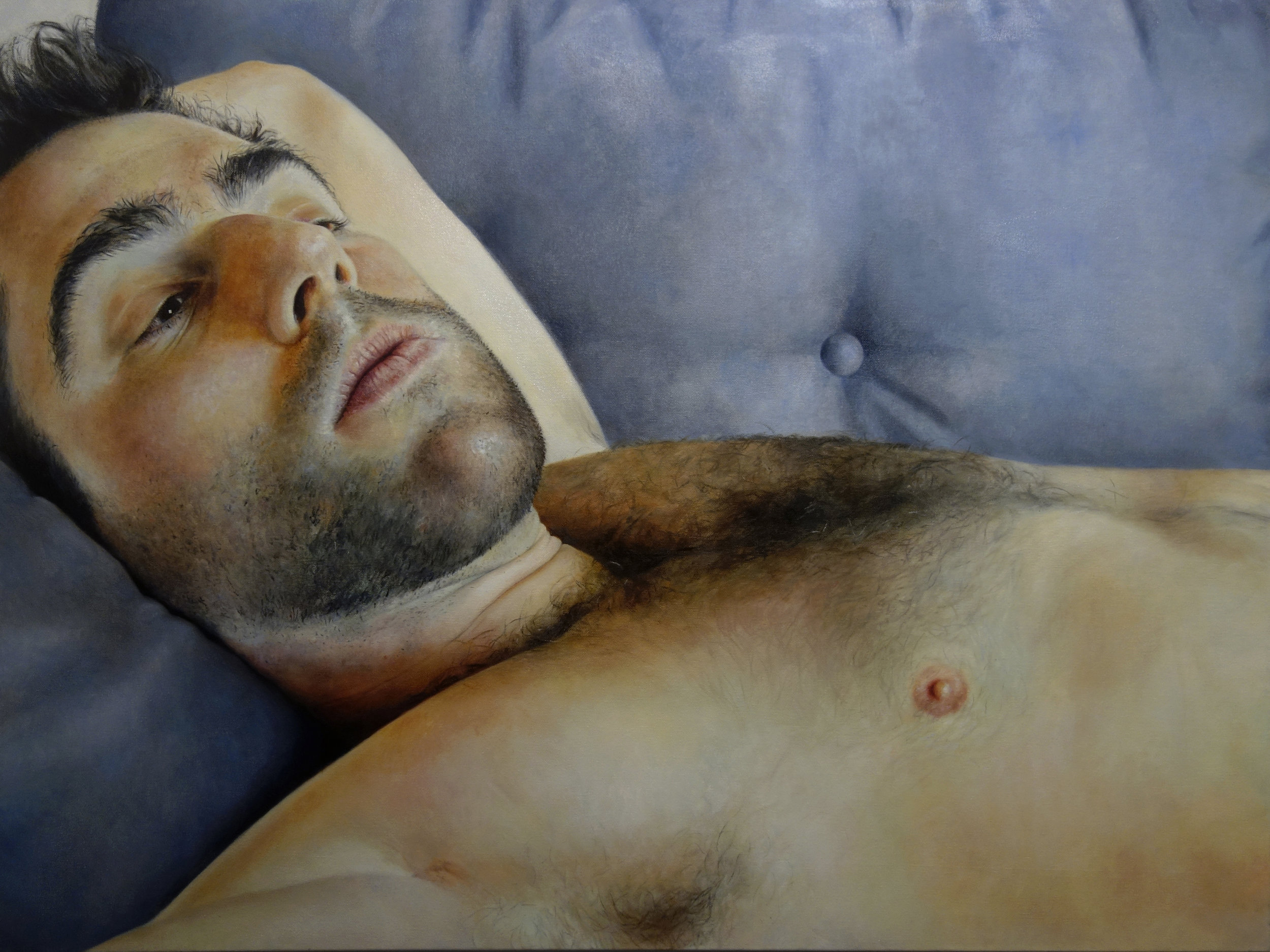 """JARED ON MY COUCH  oil on canvas 30"""" x 40"""" 2015"""