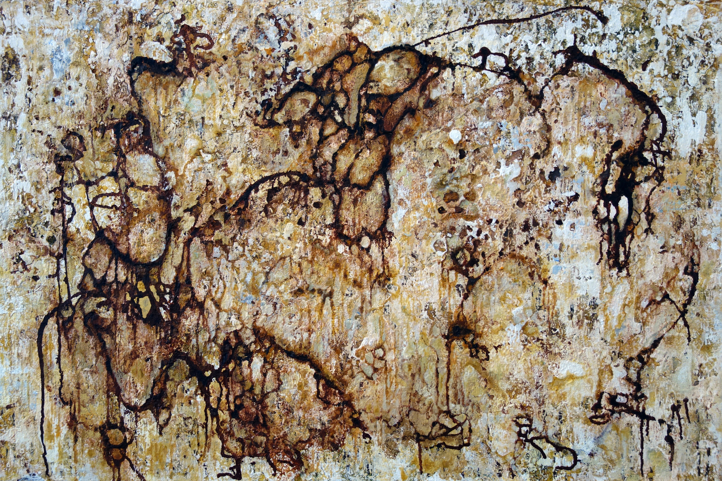 """WHAT A TANGLED WEB WE WEAVE  mixed media on canvas 24"""" x 36"""" 2012"""