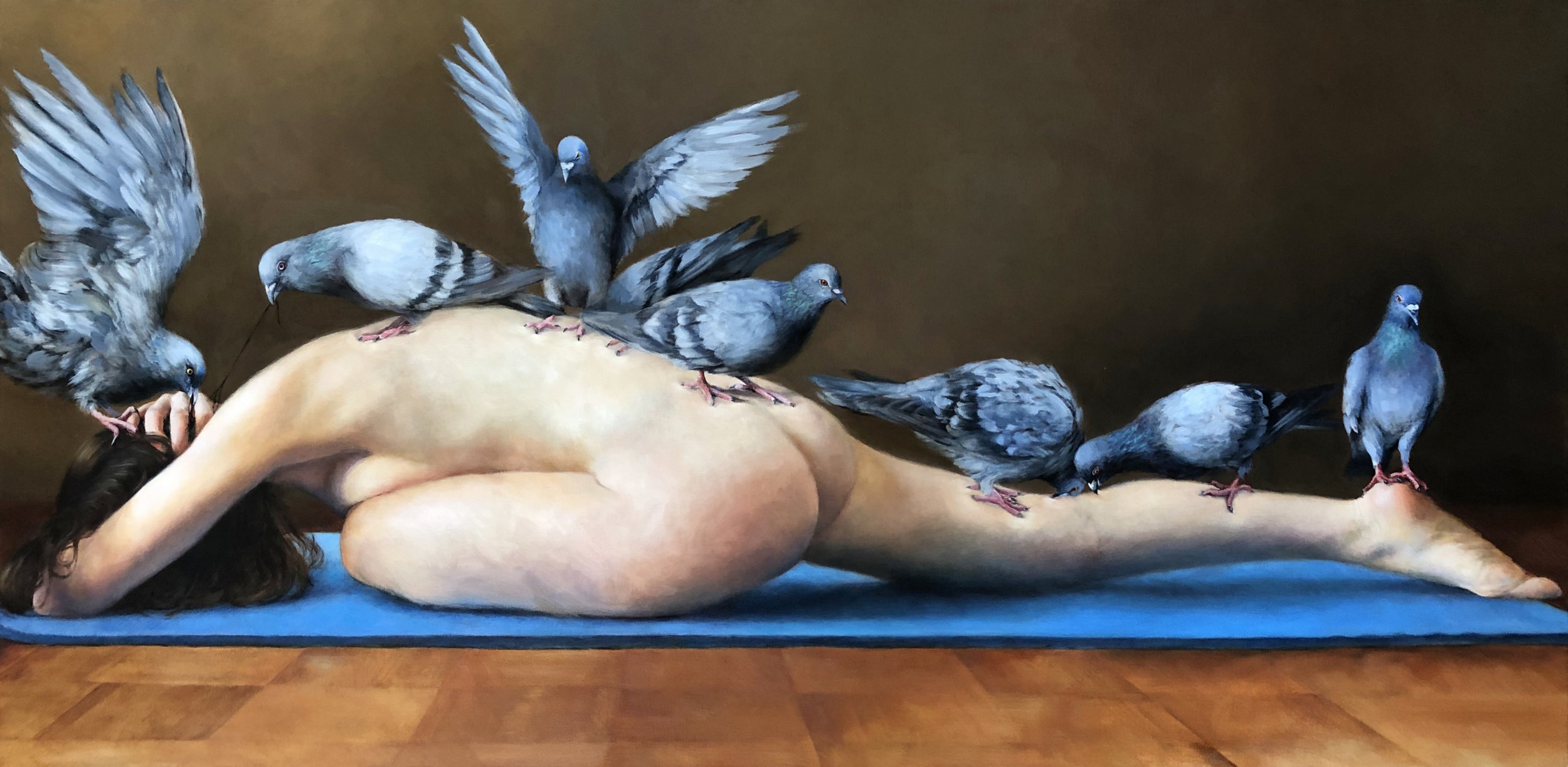 "PIGEON POSE   oil on canvas 24"" x 48"" 2016"