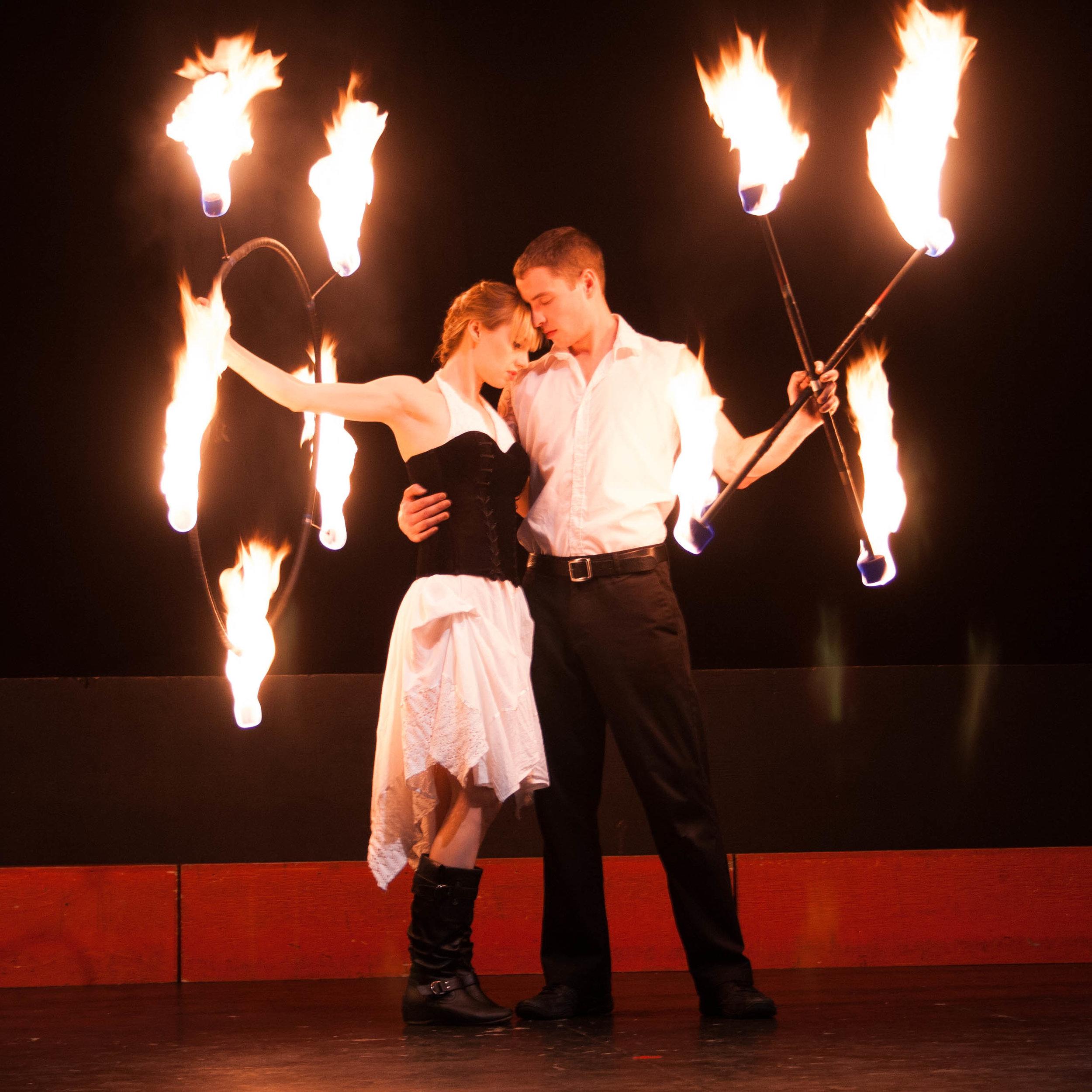 Fire performers duet