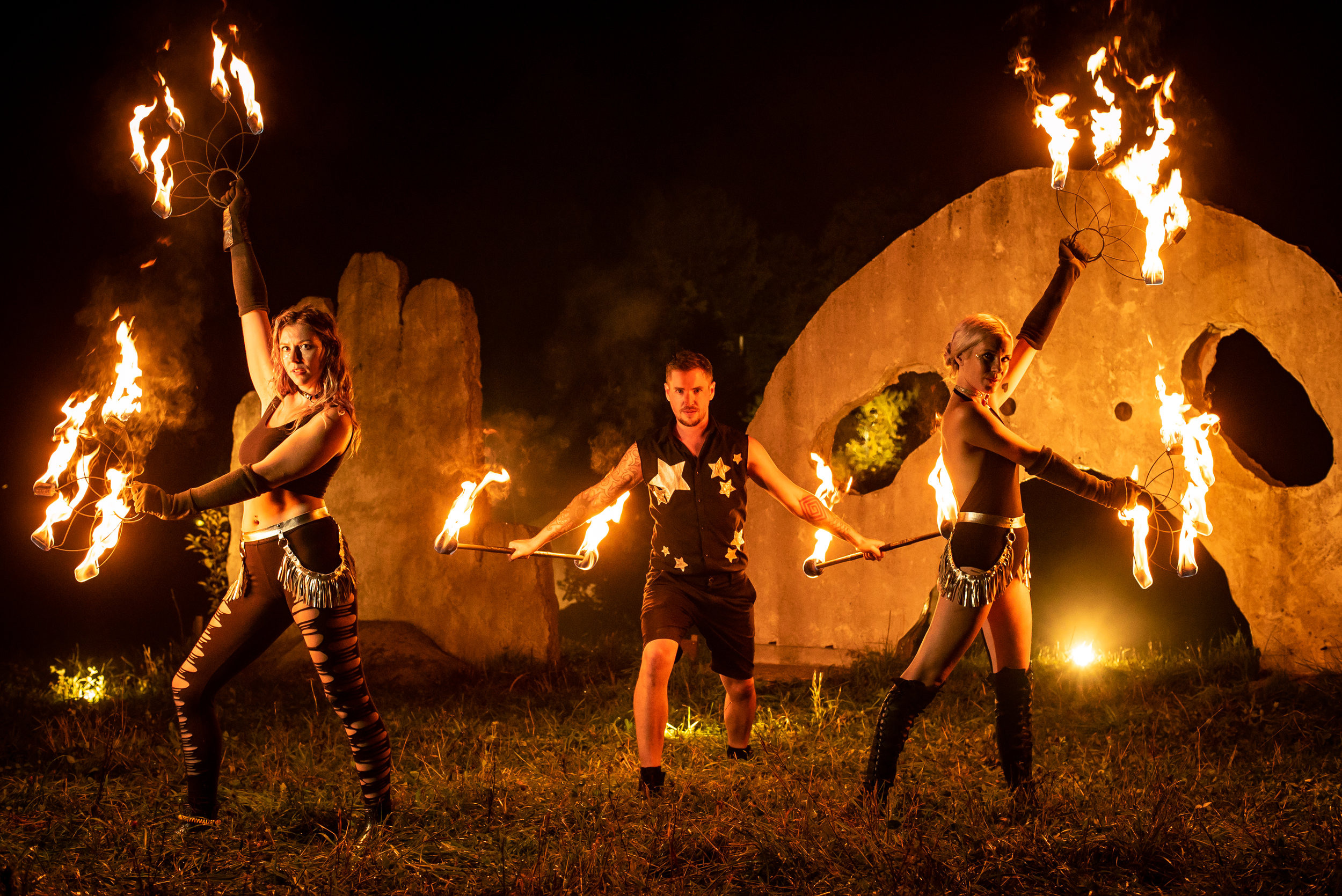 Fire performers troupe