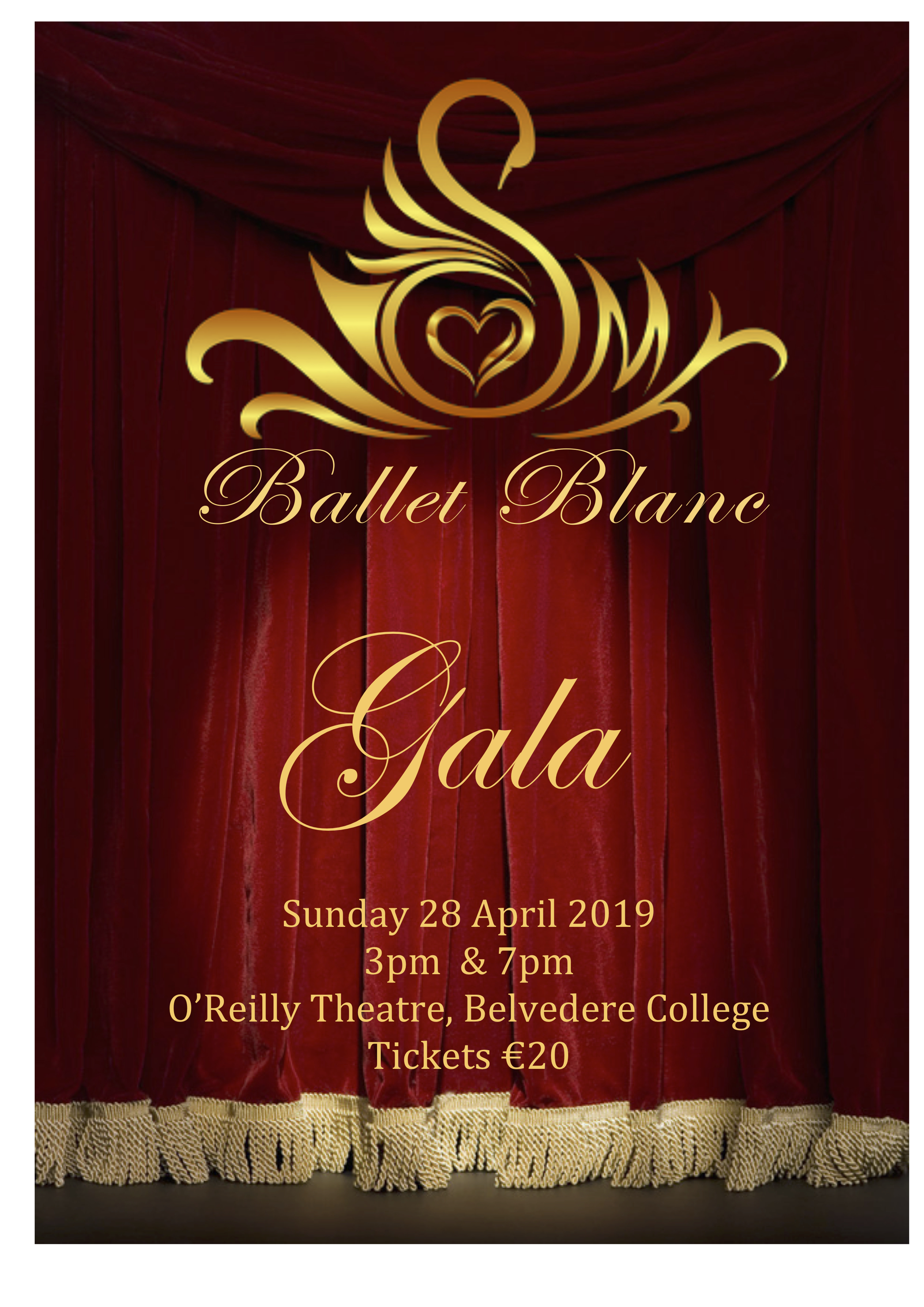 """- Tickets are now available for our Spring """"Ballet Blanc"""" Gala.Date: 28 April 2019 (Sunday).Performances at: 3pm Matinee & 7pm EveningVenue: The O'Reilly Theatre, located inside the grounds of Belvedere College, 6 Great Denmark Street, Rotunda, Dublin City Centre.Also available:Note: Tickets will also be available at the door. The Theatre is fully wheelchair accessible. This is a family-friendly show of approx 1hr:15min in length."""