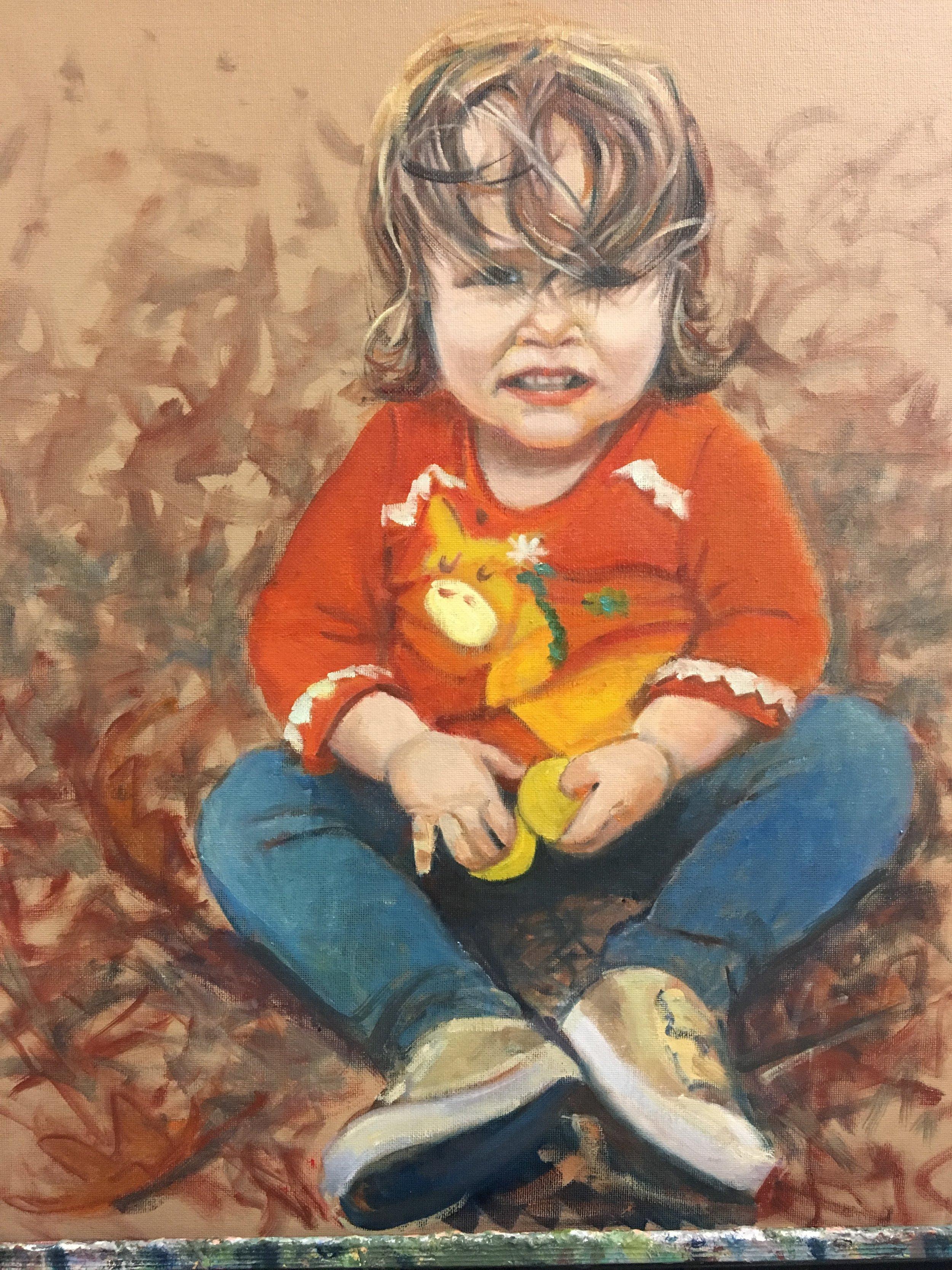 """16"""" x 20"""" oil portrait, sold"""
