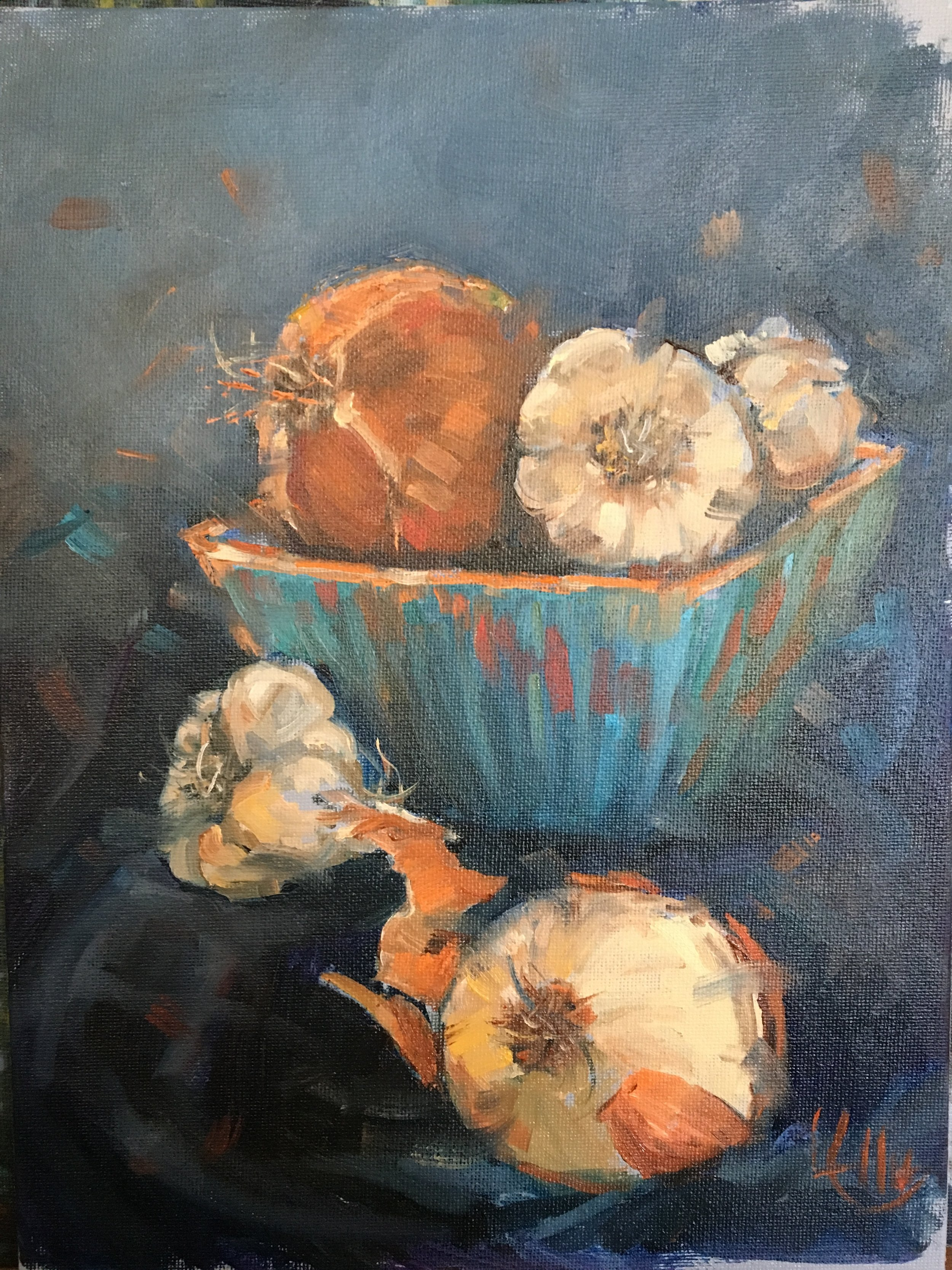"""""""Onions and Garlic"""" 9"""" x 12"""" oil on linen, $500"""