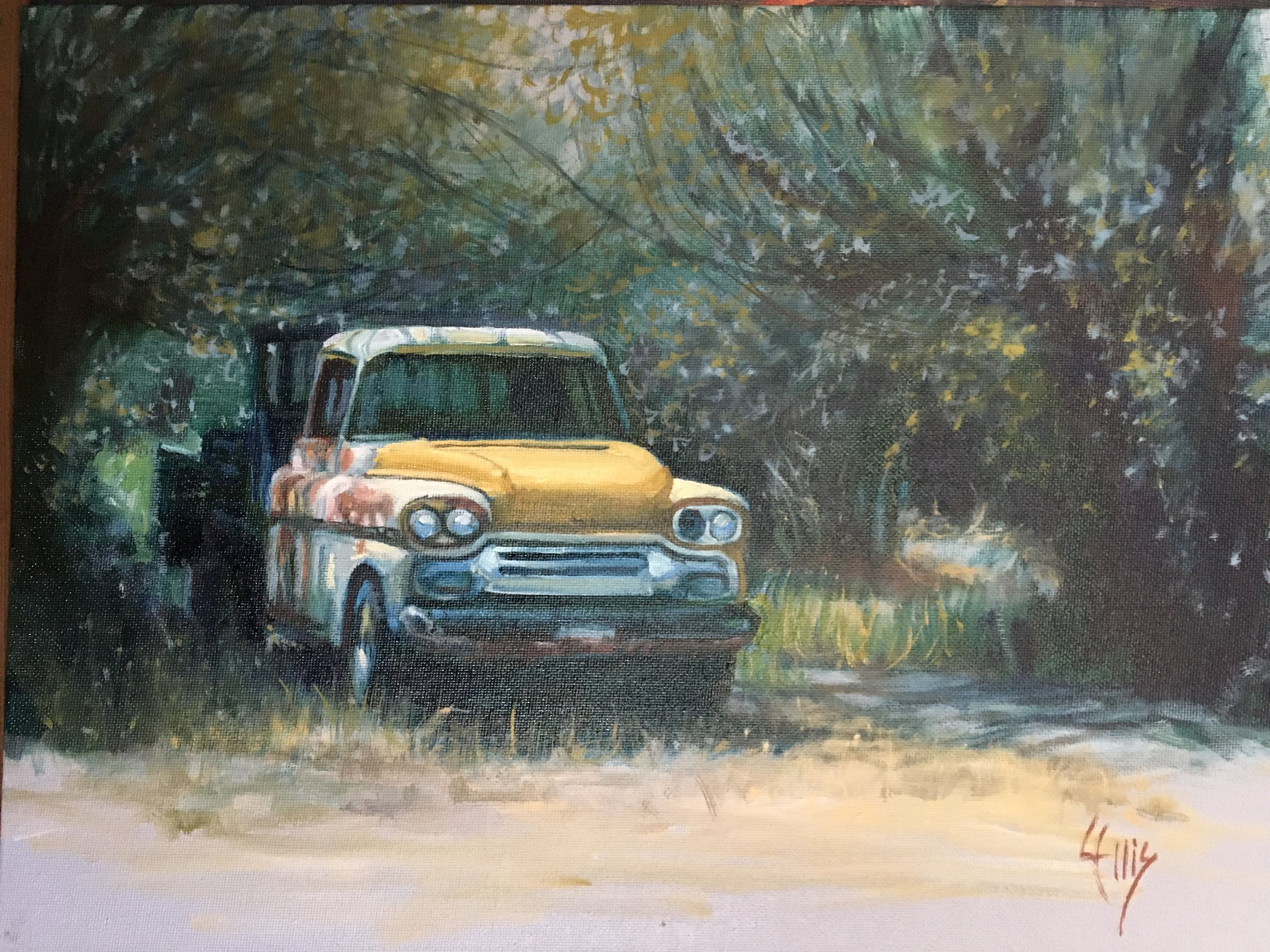 """'58 Chevy Truck"" 12"" x 16"" oil on linen, $750"